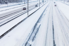 Close-up of Snowy Highway from Above Stock Photography