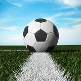 Close up of soccer ball on the field Stock Photography