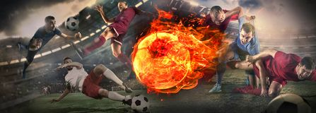 Close up soccer ball in fire and football players. Creative collage stock images
