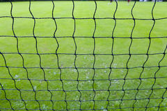 Close up of soccer goal net Royalty Free Stock Photo
