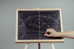 Close up of a soccer tactics drawing on chalkboard Stock Image