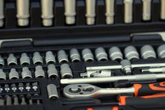 Close up of a socket set. Closeup of a socket set Royalty Free Stock Images
