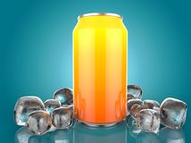 Close Up of Soft Drink Can With Ice. On Blue Background. 3d Illustration. Close Up of Soft Drink Can With Ice. On isolated Blue Background. 3d Illustration Royalty Free Stock Photography