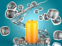 Close Up of Soft Drink Can With Ice. On Blue Background. 3d Illustration. Close Up of Soft Drink Can With Ice. On isolated Blue Background. 3d Illustration stock illustration