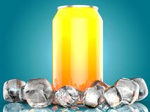 Close Up of Soft Drink Can With Ice. On Blue Background. 3d Illustration. Close Up of Soft Drink Can With Ice. On isolated Blue Background. 3d Illustration Stock Photography