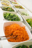 Close-up, soft focus salad bar with a variety of fresh vegetables. Colorful organic raw slice of lettuce, carrots, rukula, cucumber and pecans. Healthy eating stock images