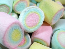 Close-up Soft Pastel Colored Puffy Marshmallows. Texture Background Stock Photos