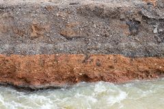 Water eroded under the paved road. Royalty Free Stock Photos
