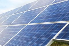 Close up solar cells alternative renewable energy from the sun Stock Photo