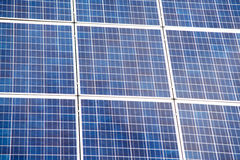 Close up on Solar panel on a red roof Stock Image