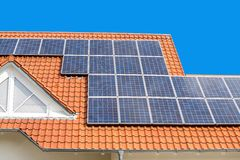 Close up on Solar panel on a red roof Royalty Free Stock Photo