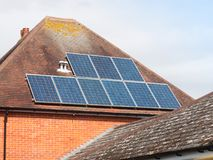 Close up of solar panels on roof home Royalty Free Stock Image