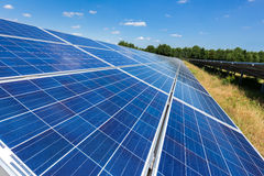 Close up of solar panels in straight line Royalty Free Stock Photo