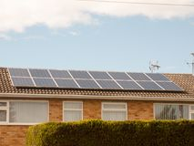 Close up of solar panels on top of roof home. England; UK Stock Photography
