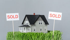 Close up of sold model house Royalty Free Stock Photos