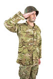Close-up of soldier saluting. On white background Stock Images
