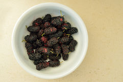 Close up of some blackberries in a bowl. Close up of some blackberries Royalty Free Stock Photos