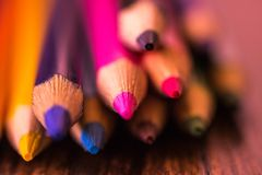 Close up of some color pencils. Photo with the intention of drawing attention to the beauty of the colors of the pencils stock photo