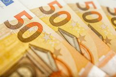 Close up of some 50 euros bills. Pile of 50 euro notes - business background stock images