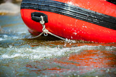 Close-up some part of raft with water rapids on the river Royalty Free Stock Photography