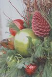 Decorated Christmas Tree ornaments up close stock photo