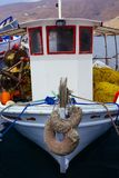 A close up of some small wooden colorful fishing boats at the po. Rt of Aegiali Royalty Free Stock Photo