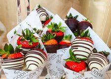 Godiva indulgent gourmet chocolate on display with strawberries at Meadowhall, South Yorkshire, UK royalty free stock photography