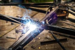 Close up of some stick welding. Close up of some stick welding metal construction Royalty Free Stock Images