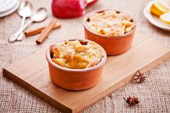 Homemade Sweet Apple Cobbler. Close up of some tasty homemade apple crumble royalty free stock photo