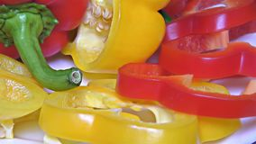 Red, Green and Yellow Paprika – Close Up, Detail, Macro. Close Up of some Yellow and Green and Red Peppers – Detail, Macro stock video