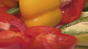 Red, Green and Yellow Paprika – Close Up, Detail, Macro. Close Up of some Yellow and Green and Red Peppers – Detail, Macro stock video footage