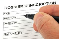 Fill out a registration form in french stock photos