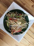Close up Somtum is famous Thai food. Spicy salad good for diet , cuisine and travel concept royalty free stock photo