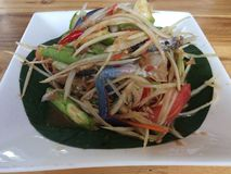 Close up Somtum is famous Thai food. Spicy salad good for diet , cuisine and travel concept stock photos