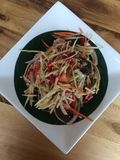 Close up Somtum is famous Thai food. Spicy salad good for diet , cuisine and travel concept stock image