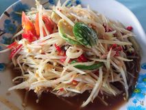 Somtum is famous Thai food. Close up Somtum is famous Thai food, a spicy food slad Royalty Free Stock Image