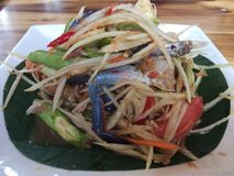 Close up Somtum is famous Thai food. Spicy salad good for diet , cuisine and travel concept royalty free stock images