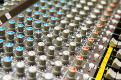 The close up of sound adjusting buttons Stock Photo