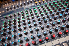 Close-up of sound mixing equipment in television station Stock Images