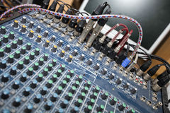 Close-up of sound mixing equipment in television studio Royalty Free Stock Images
