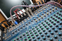 Close-up of sound mixing equipment in television studio stock images