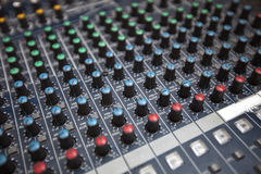 Close-up of sound recording equipment in studio Royalty Free Stock Photos
