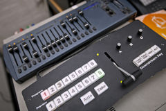 Close-up of sound recording equipment in television studio Royalty Free Stock Photo