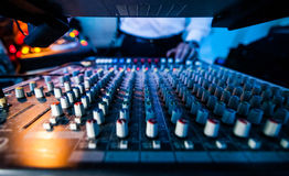 Close-up of a Sound Tech Board in Action Royalty Free Stock Images