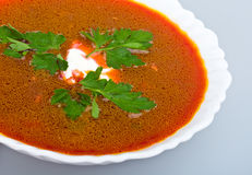 Close-up soup from beet with sour cream Stock Photo