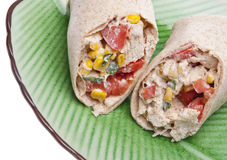 Close Up of Southwestern Chicken Salad Wrap Royalty Free Stock Image