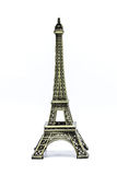 Close up Souvenir Model of the Eiffel Tower on White Background stock images
