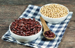 Close up, soybean and red Kidney Bean. In ceramic bow Stock Photo