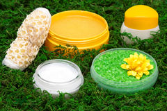 Close-up of spa and pampering products. Coarse sea salt, skin care creams, natural body scrub, body scrubber on green moss. Safe organic cosmetics. Side view Royalty Free Stock Photo