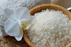 Close up of spa set with salt bath. Royalty Free Stock Photo